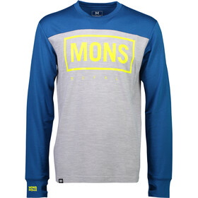 Mons Royale M's Yotei Tech LS Grey Marl/Oily Blue